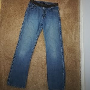DKNY jeans with leather detail at waist